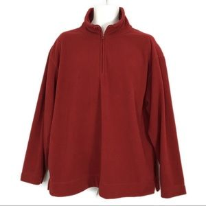 St Johns Bay Deep Red Fleece Top Men's Large Soft
